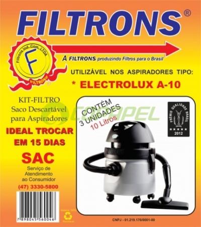 FILTRO ELECTROLUX 10 LITROS DESCARTÁVEL COM 03 PEÇAS
