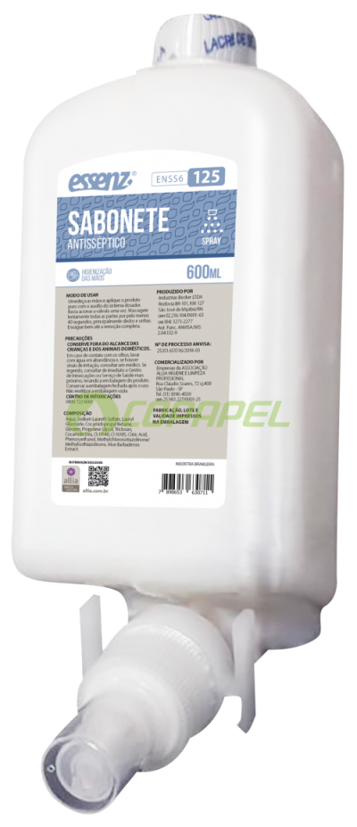 REFIL SABONETE SPRAY ANTISSÉPTICO ESSENZ 600ML
