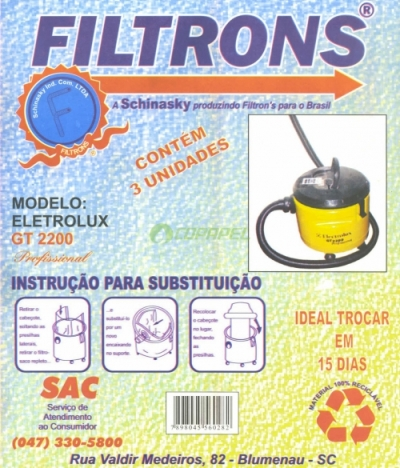 FILTRO ELECTROLUX GT 2200 COM 03 PEÇAS