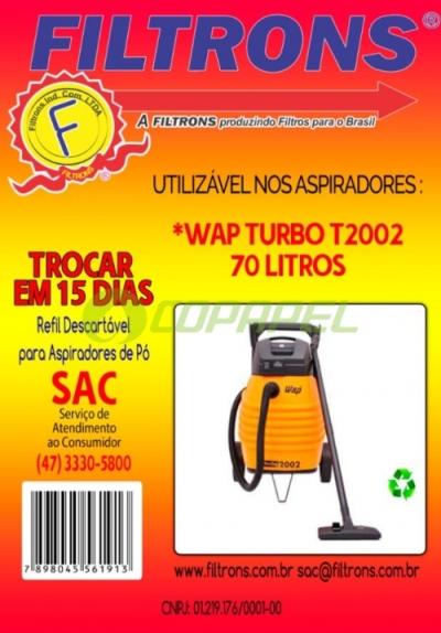 FILTRO WAP TURBO 2001/2002 DESCARTÁVEL COM 03 PEÇAS