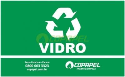 ETIQUETA PARA LIXEIRA COLETA SELETIVA - VERDE/VIDRO