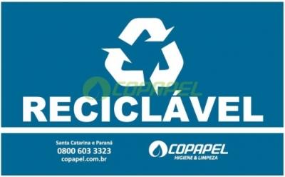 ETIQUETA PARA LIXEIRA COLETA SELETIVA -  AZUL/RECICLÁVEL