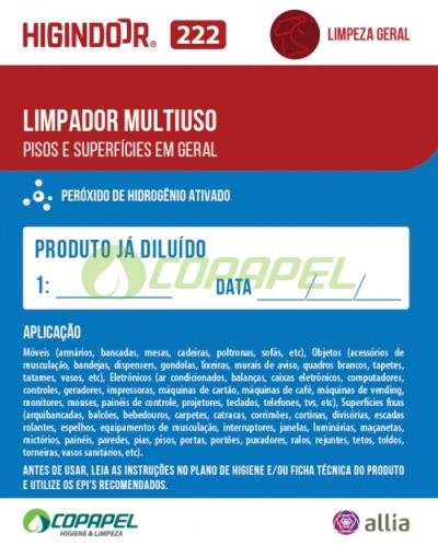 ADESIVO HIGINDOOR 222 - 8x10cm -  PRODUTO DILUÍDO